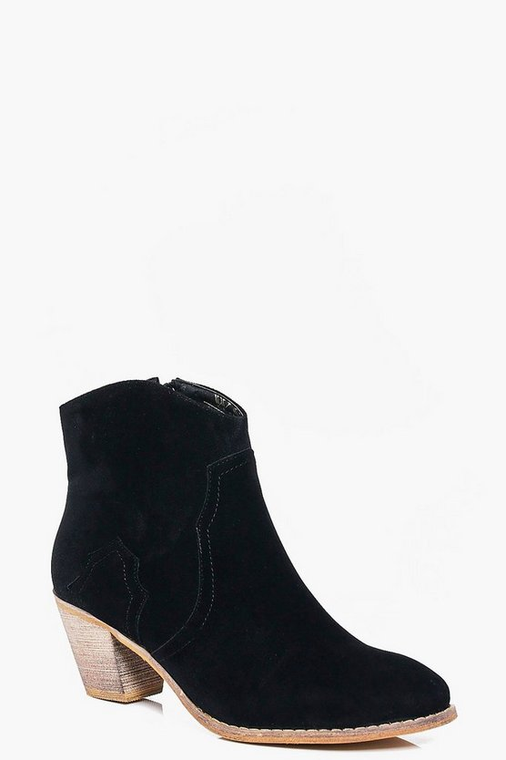 Heidi Pull On Western Ankle Boot