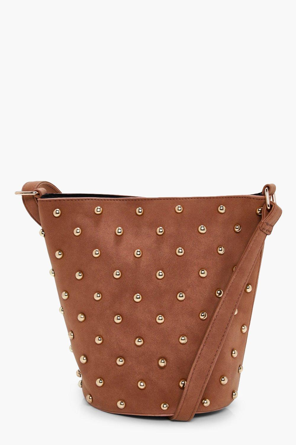 Studded Suedette Cross Body Bag - tan - Clara Stud