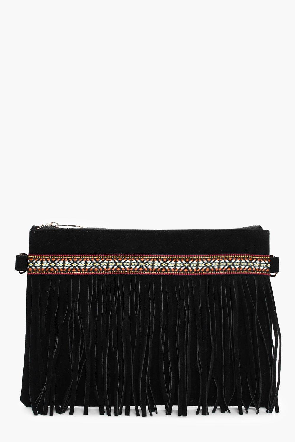 Aztec & Fringe Cross Body Bag - black - Macy Aztec