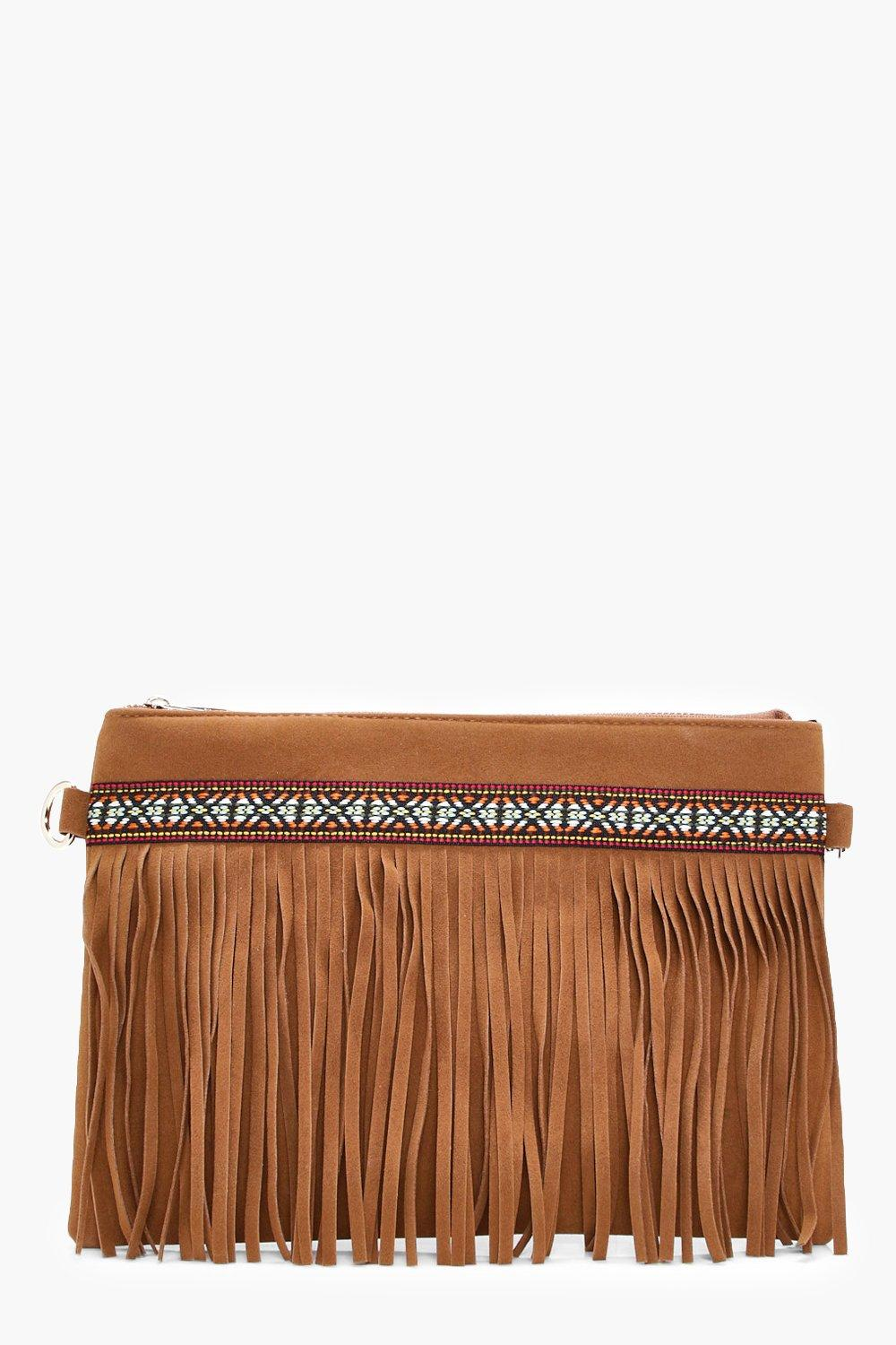 Aztec & Fringe Cross Body Bag - tan - Macy Aztec &