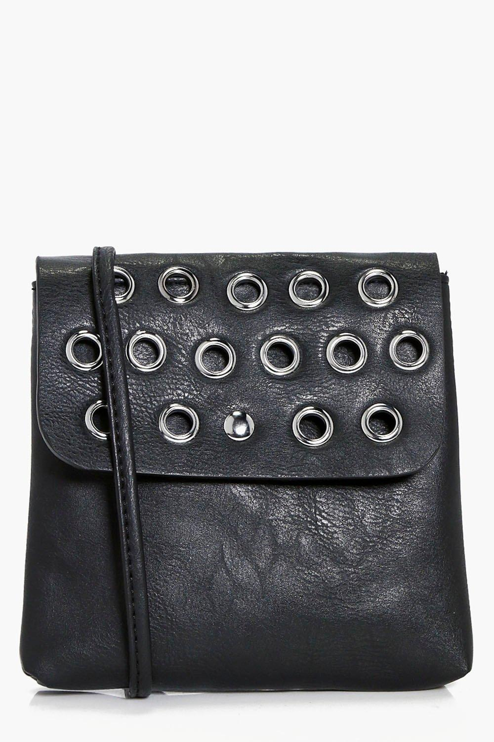 Eyelet Flap Cross Body Bag - black - Rachel Eyelet