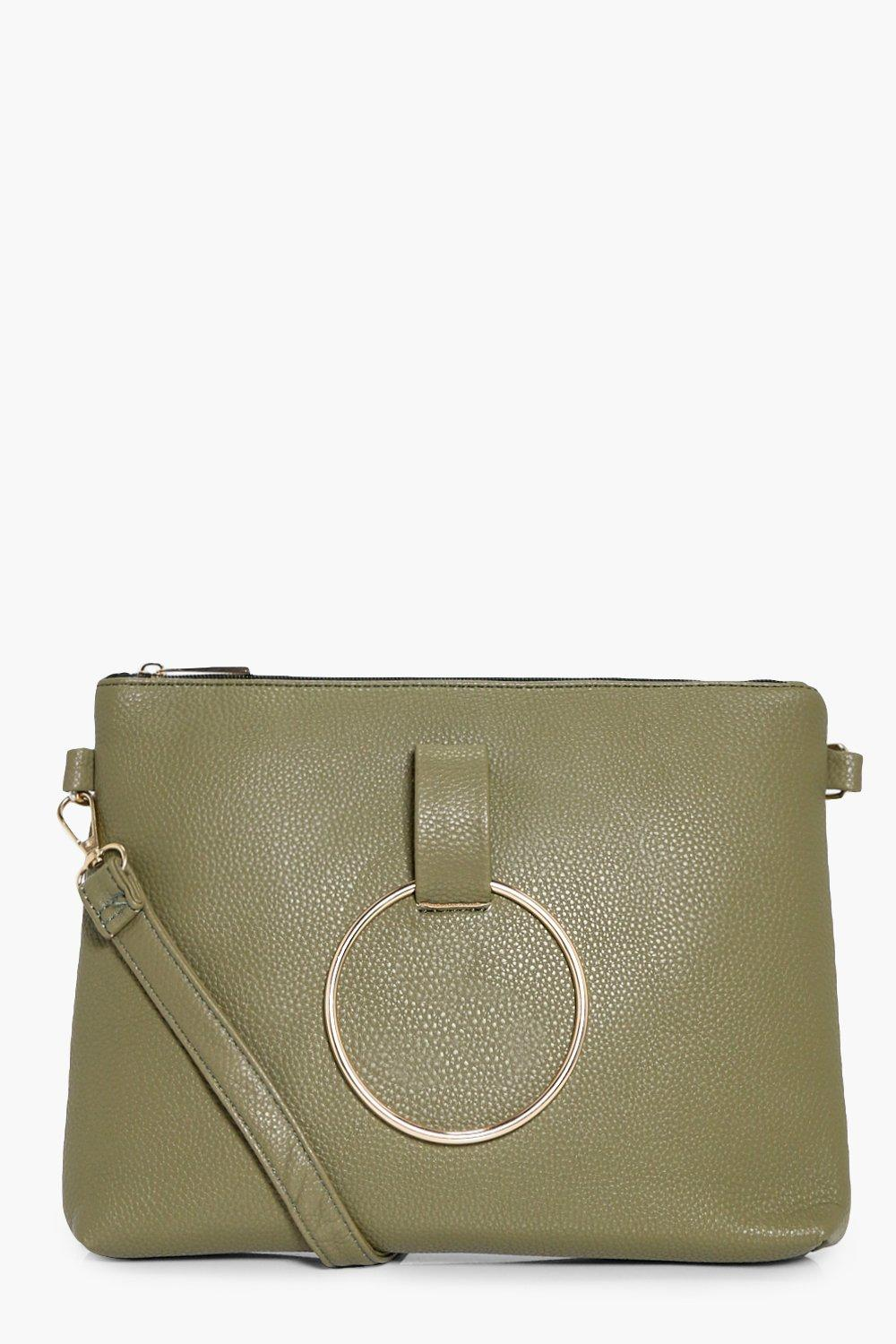 Loop Ring Detail Cross Body Bag - khaki - Nina Loo