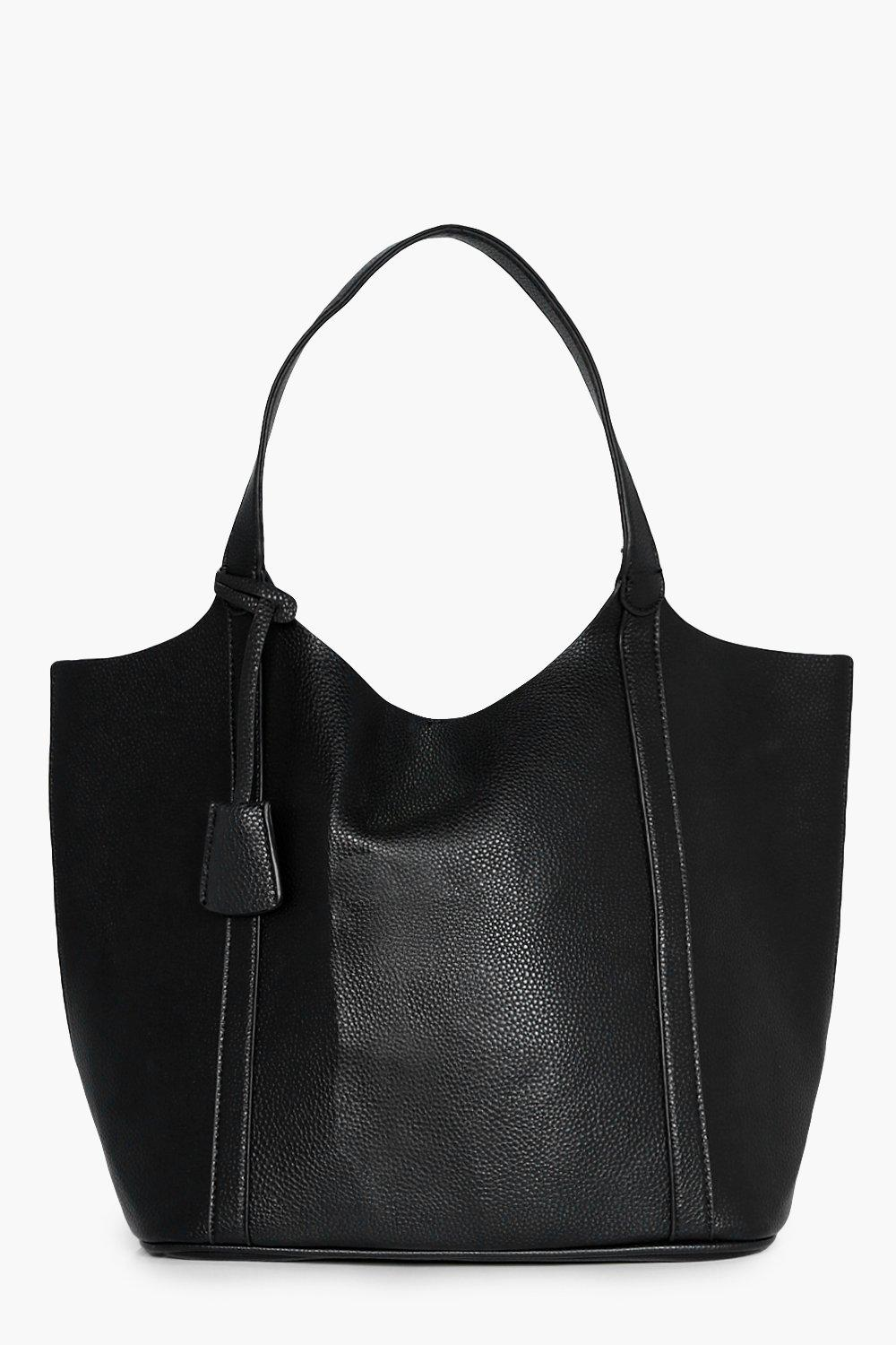 Panel Unlined Oversize Shopper Bag - black - Mae P