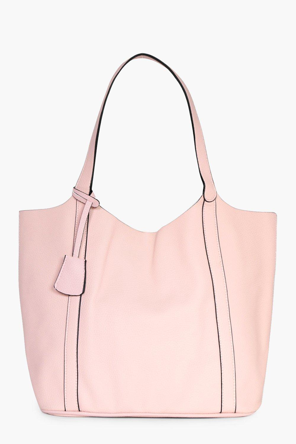 Panel Unlined Oversize Shopper Bag - blush - Mae P