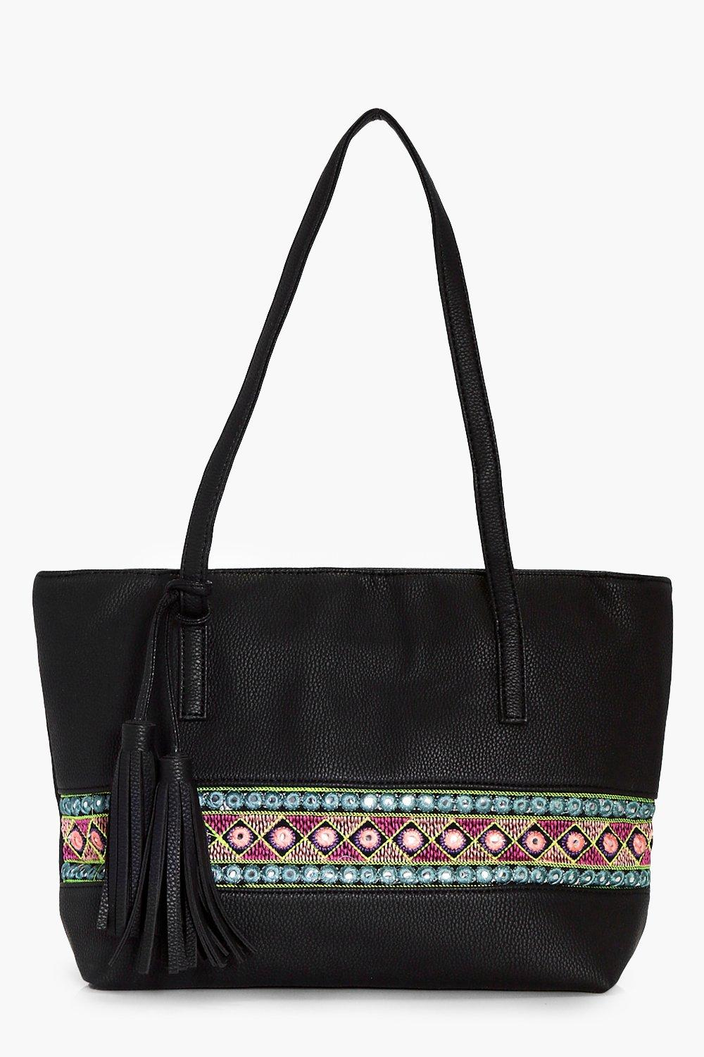 Aztec Mirror Trim Shopper Bag - black - Lucia Azte
