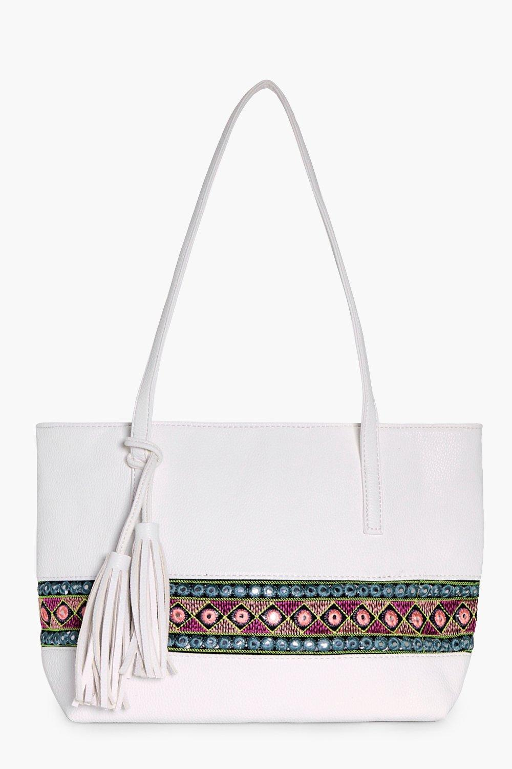 Aztec Mirror Trim Shopper Bag - white - Lucia Azte