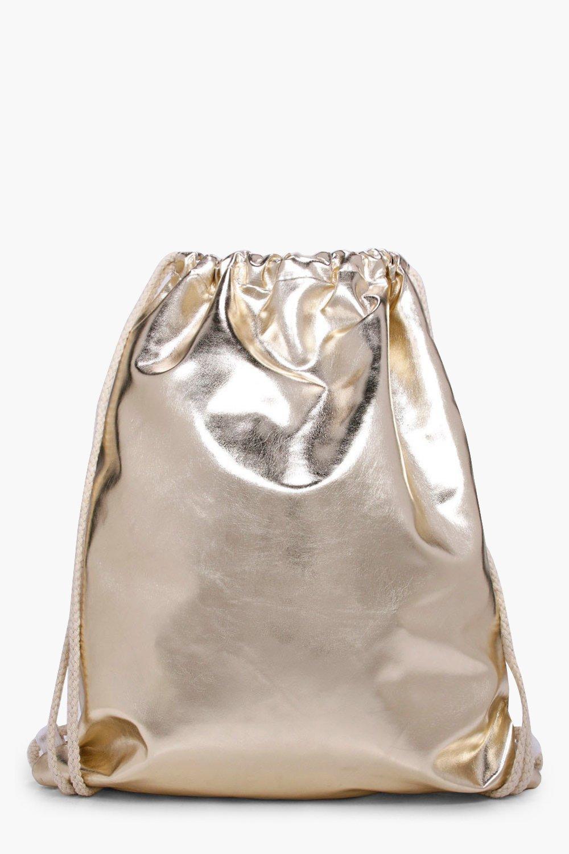Metallic Drawstring Rucksack - gold - Felicity Met