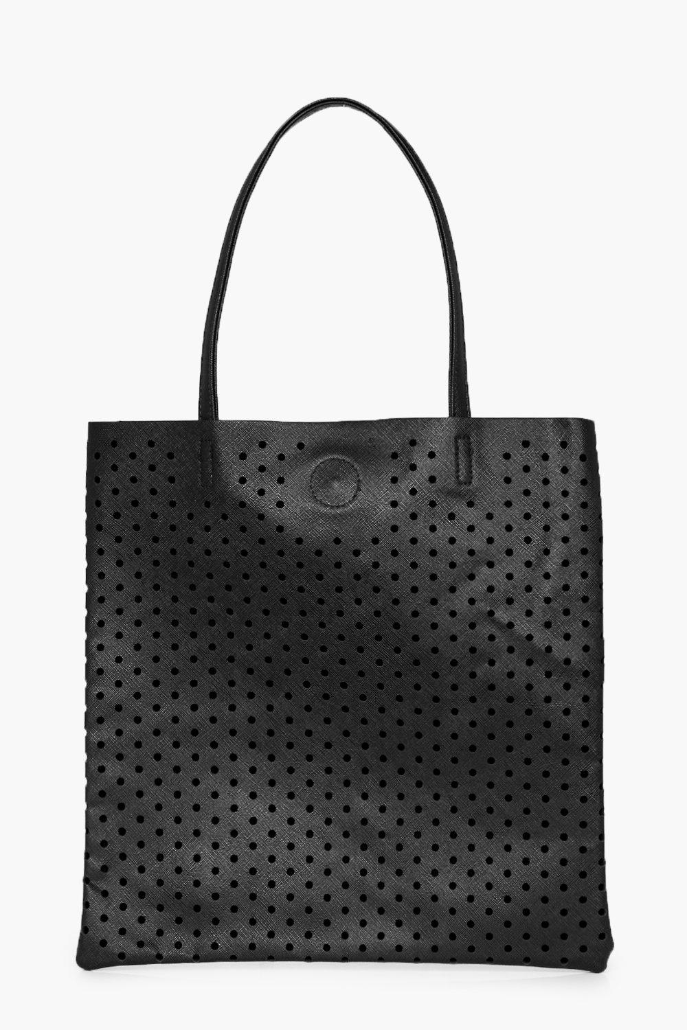 Lazercut Perforated Shopper Bag - black - Macie La