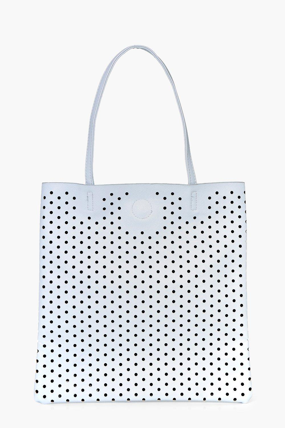 Lazercut Perforated Shopper Bag - blue - Macie Laz