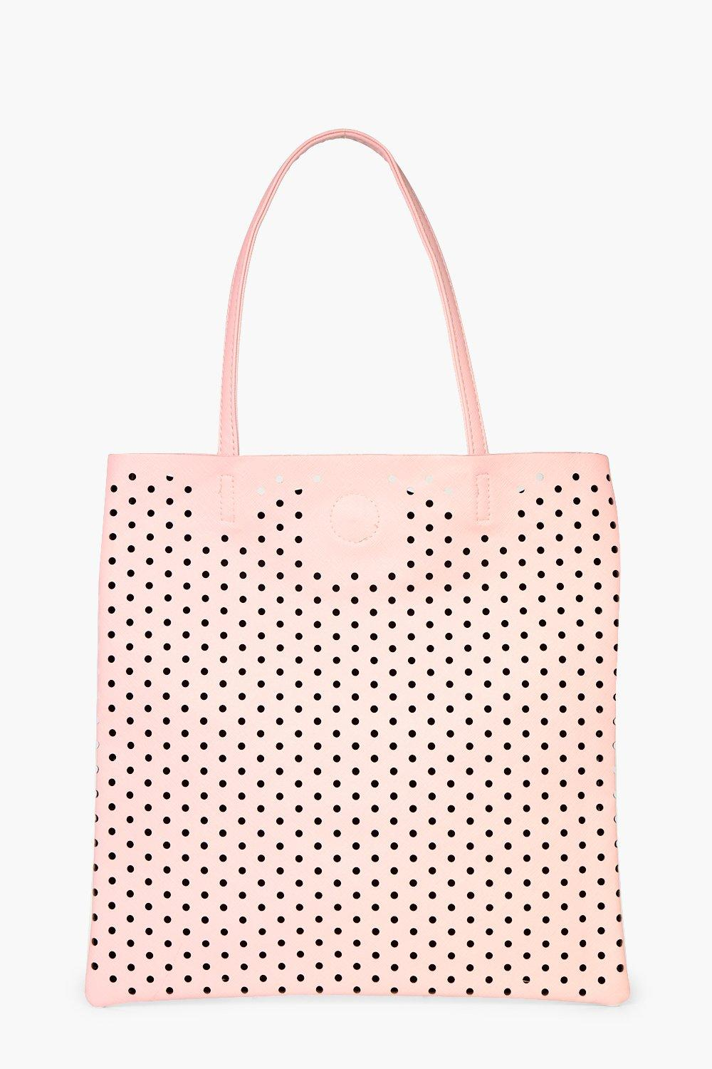 Lazercut Perforated Shopper Bag - pink - Macie Laz