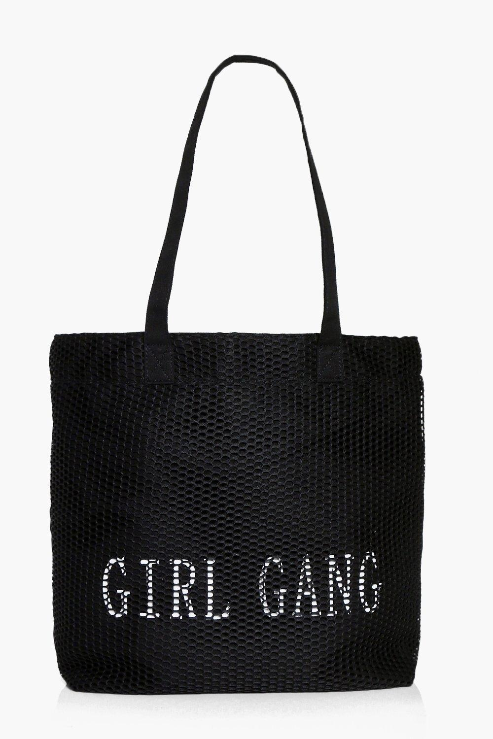Mesh Slogan Shopper - black - Macey Mesh Slogan Sh