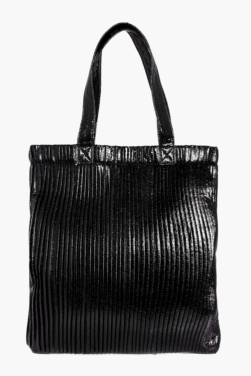 Plisse Effect Metallic Shopper Bag - black - Aleen