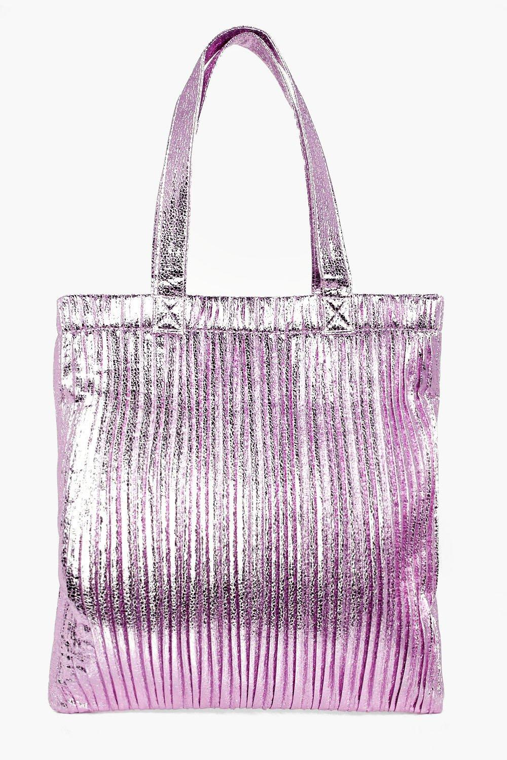 Plisse Effect Metallic Shopper Bag - lilac - Aleen