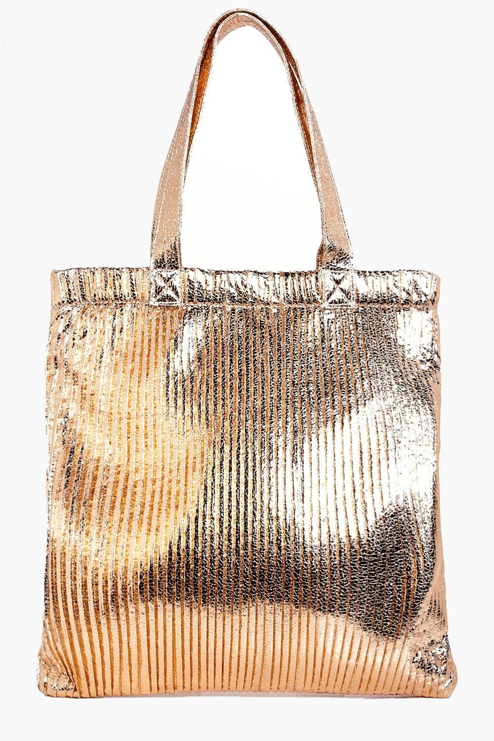 Plisse Effect Metallic Shopper Bag - rose gold - A