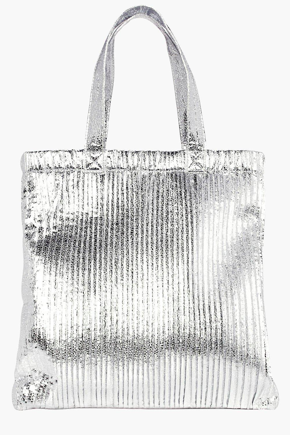 Plisse Effect Metallic Shopper Bag - silver - Alee