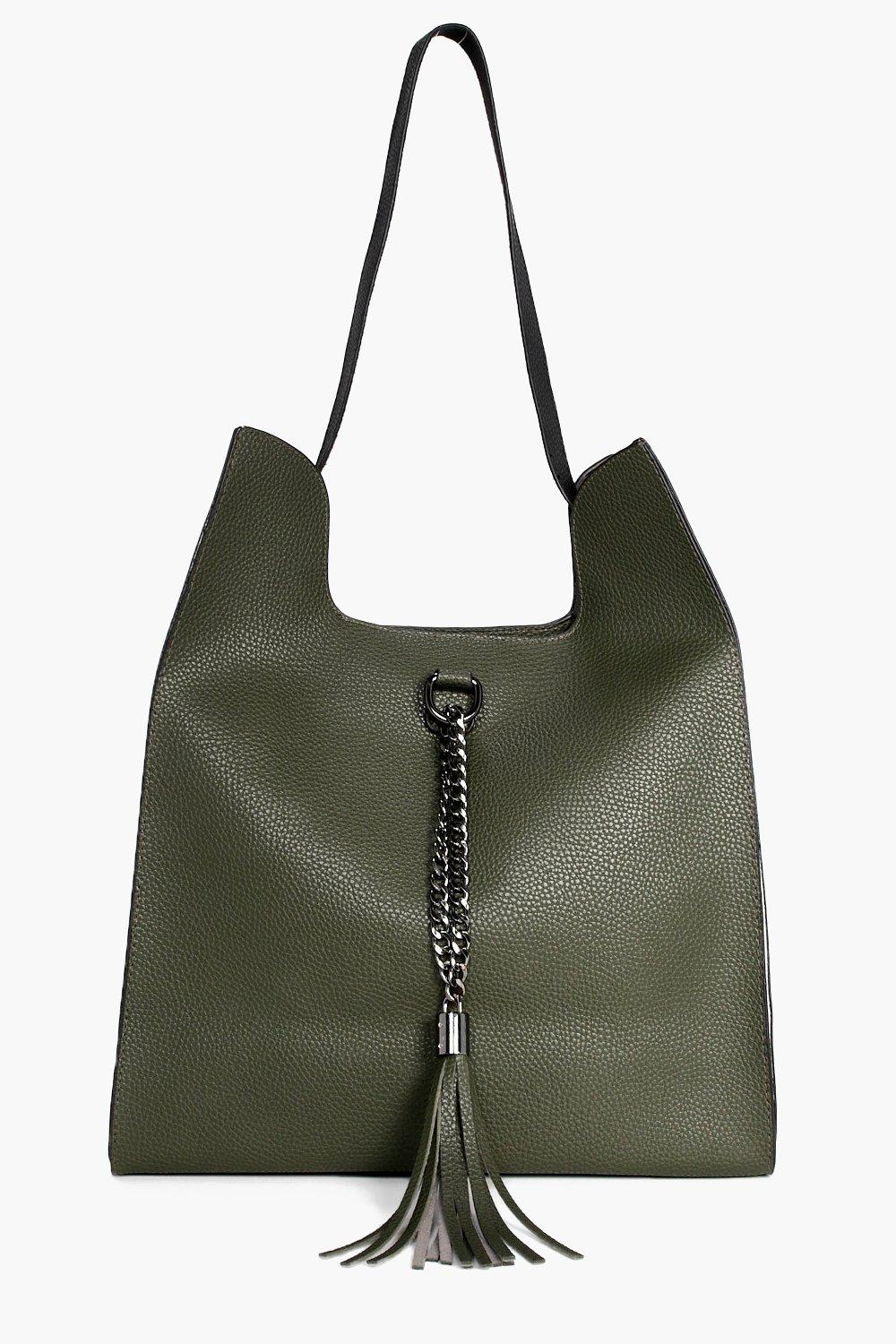 Colourblock Metal & Tassel Shopper Bag - khaki - S