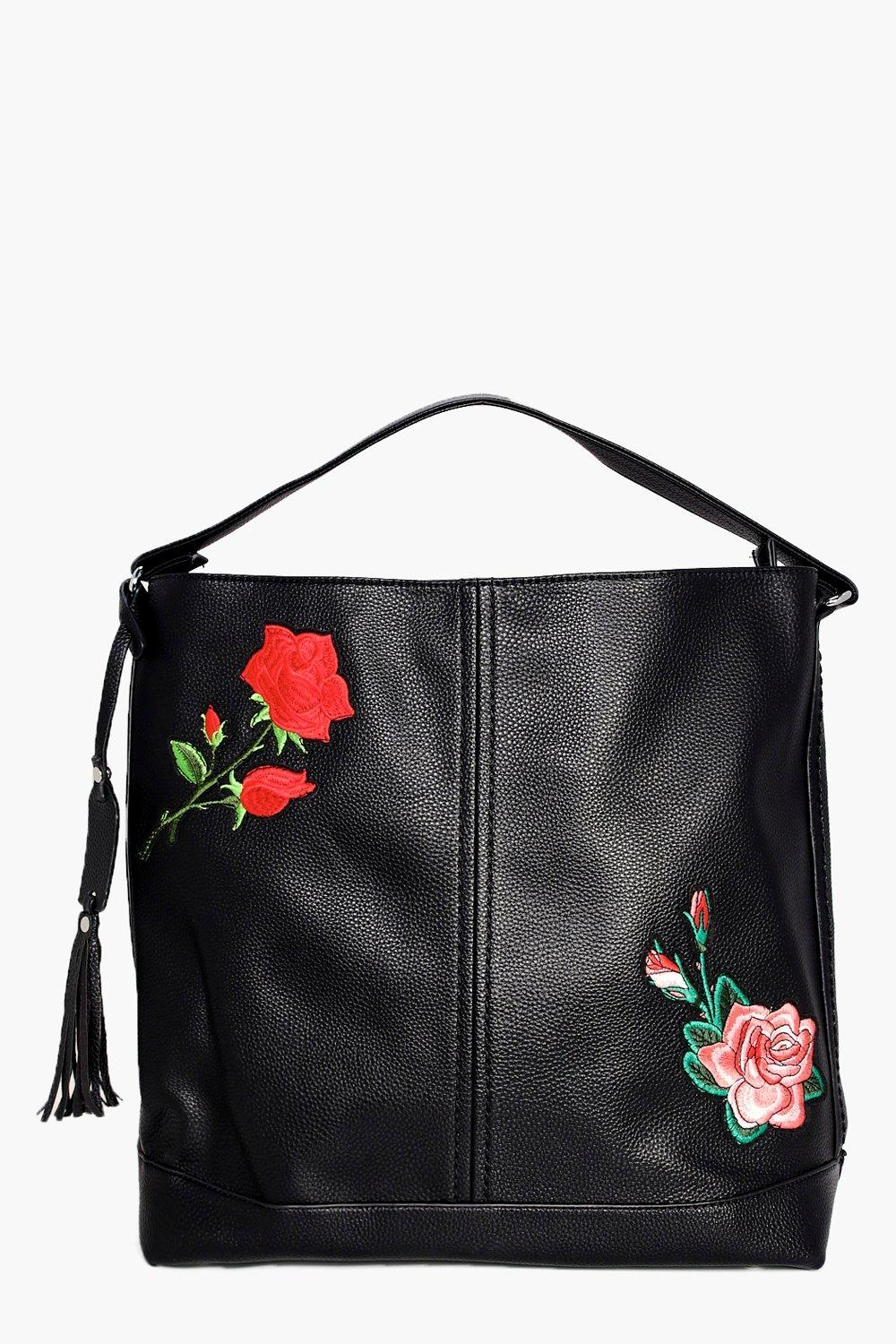 Embroidered Hobo Shoulder Bag - black - Alyssa Emb