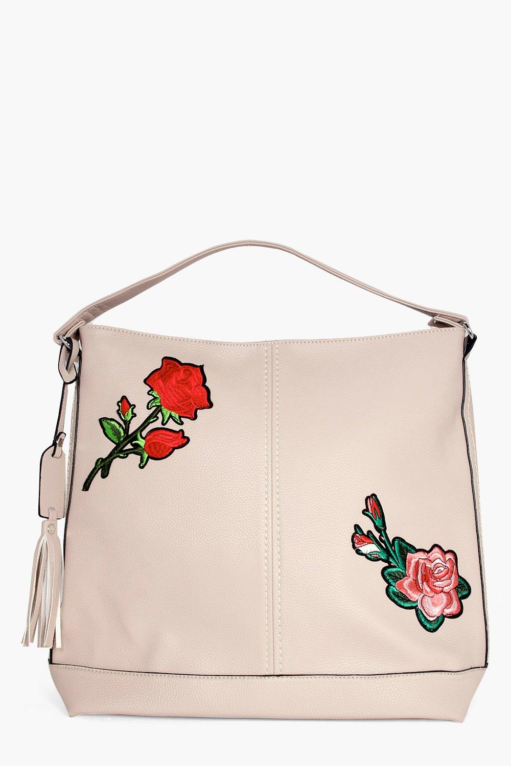 Embroidered Hobo Shoulder Bag - taupe - Alyssa Emb