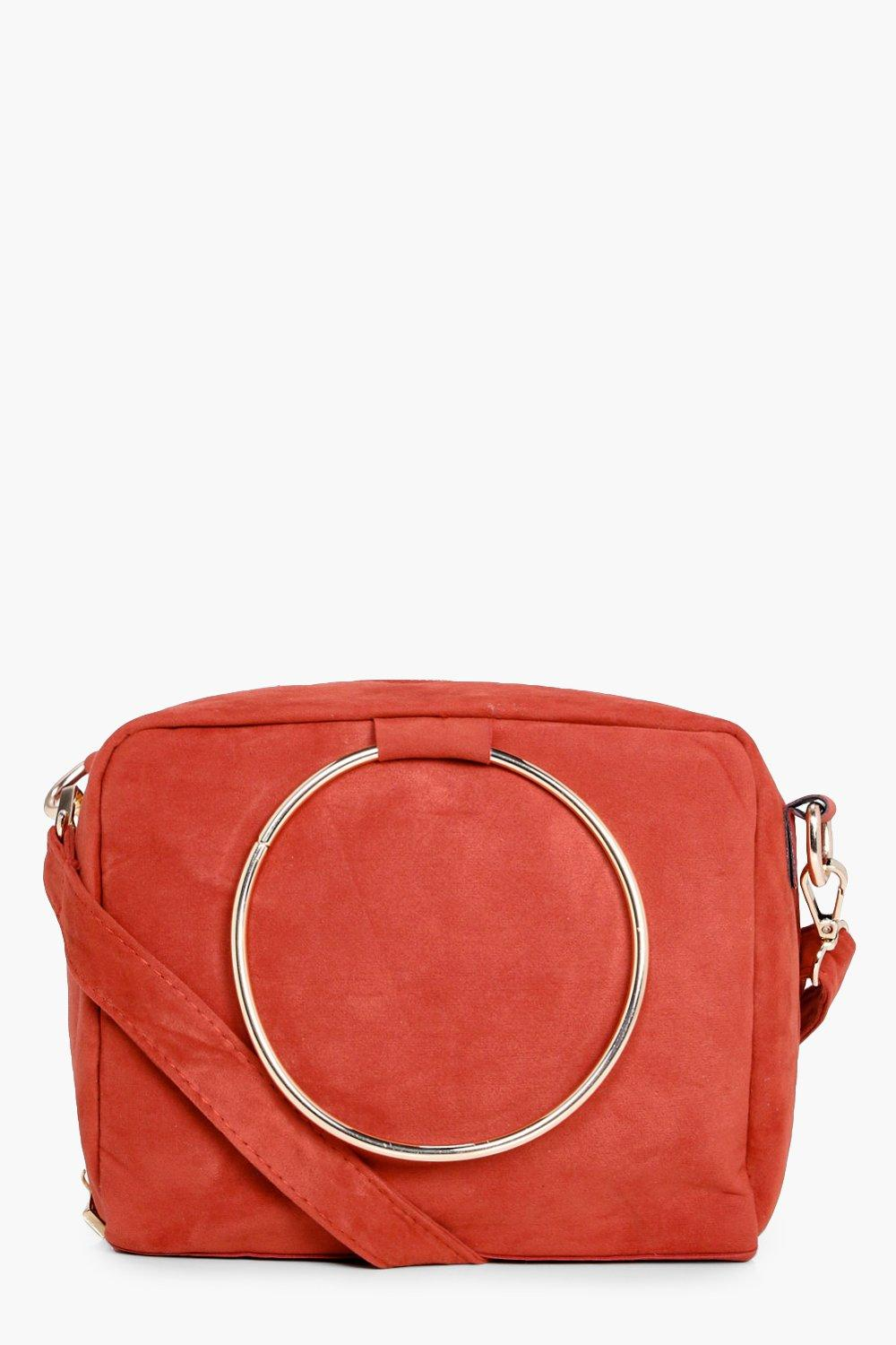 Loop Ring Detail Cross Body Bag - rust - Frankie L