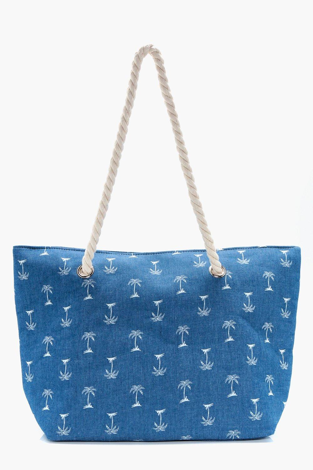 Palm Tree Beach Bag - denim-blue - Lizzie Palm Tre