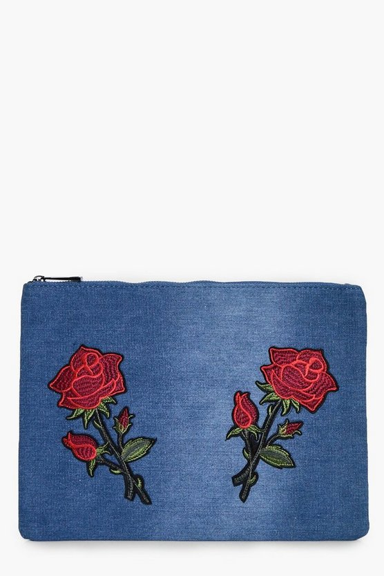 Serena Floral Embroidered Denim Clutch Bag
