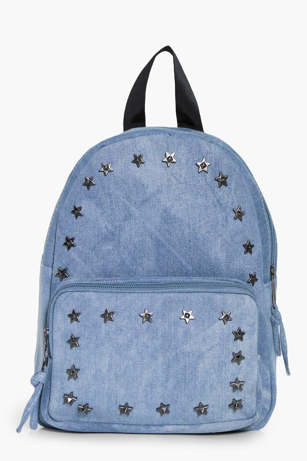 Denim Star Stud Rucksack - pale blue - Elena Denim