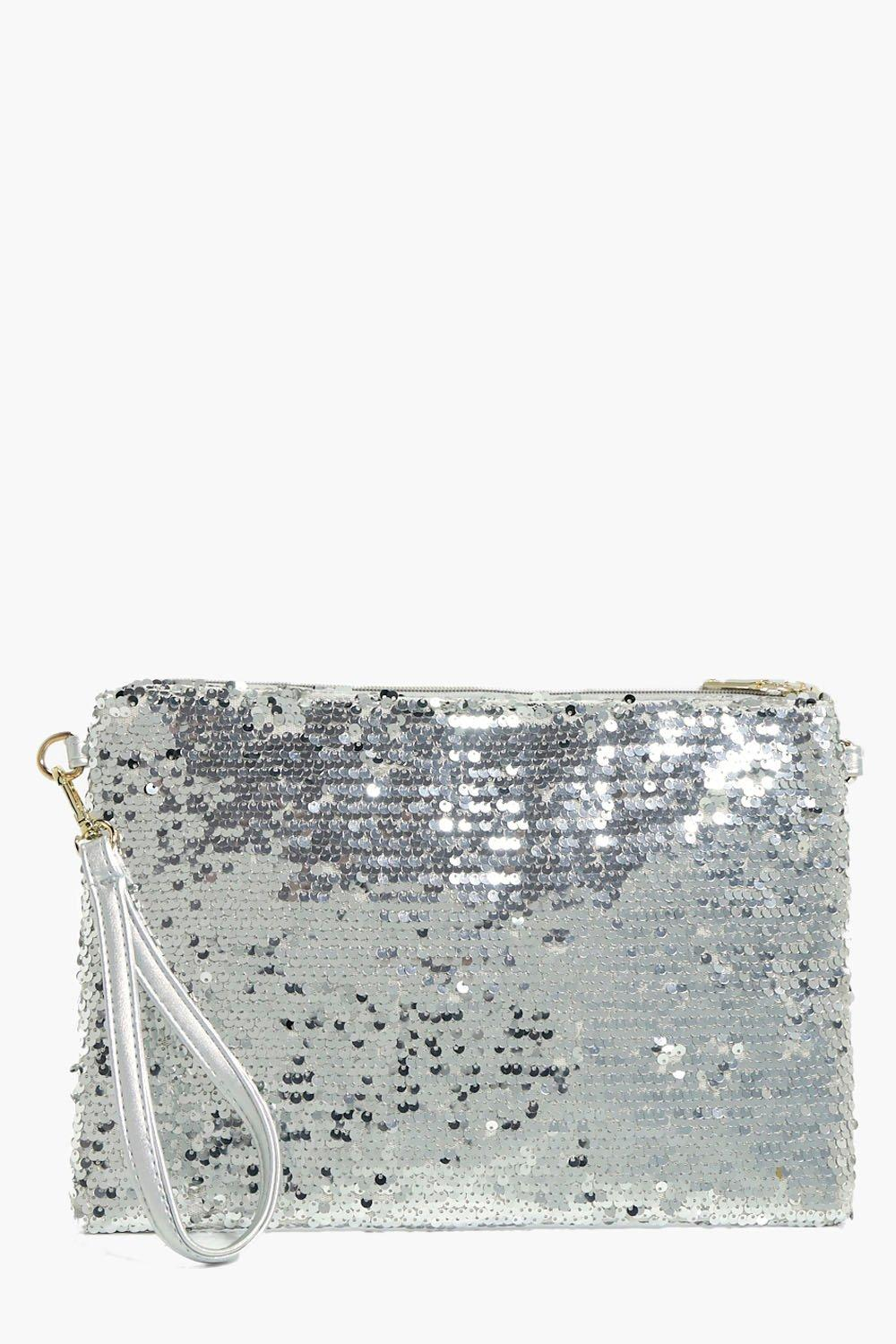 Two Way Sequin Clutch - silver - Natasha Two Way S