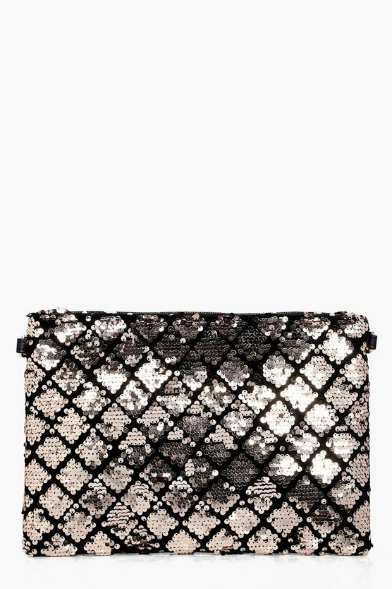 Lara Diamond Pattern Sequin Clutch Bag