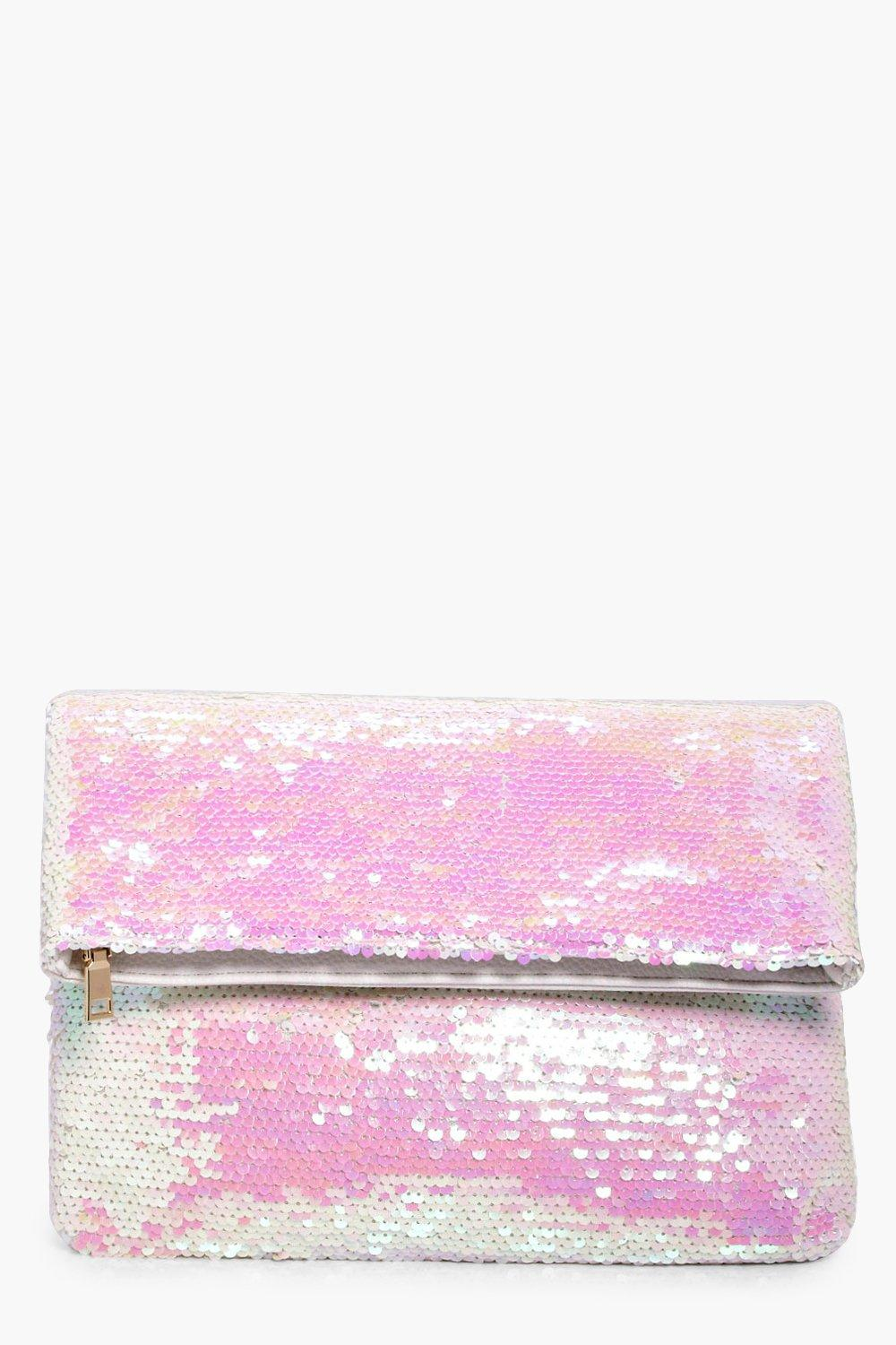 Mermaid Sequin Fold Over Clutch - white - Annabel
