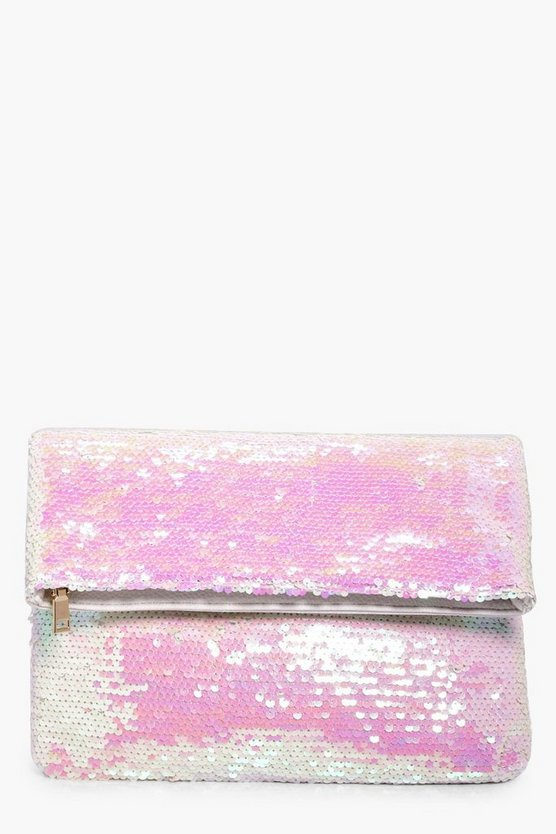 Annabel Mermaid Sequin Fold Over Clutch