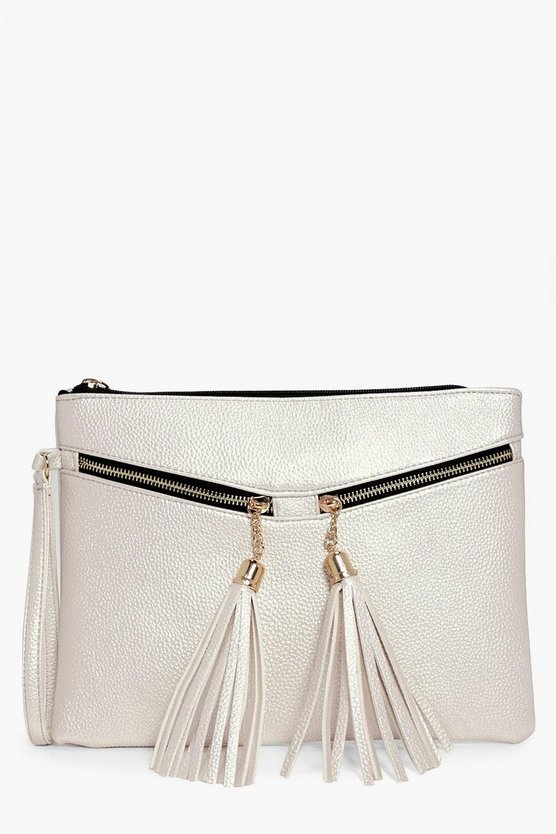Aaliyah Metallic Tassel Zip Clutch Bag