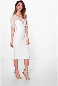 Penny Polkadot Long Sleeve Midi Dress