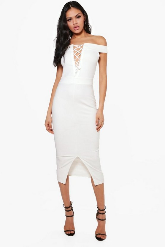 Lo Off Shoulder Lace Up Midi Bodycon Dress
