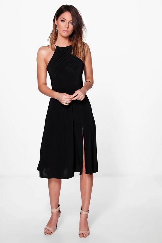 Hazel Gather Pleat Top Midi Skater Dress
