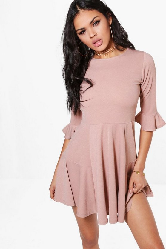 Holly Flute Hem A-Line Skater Dress