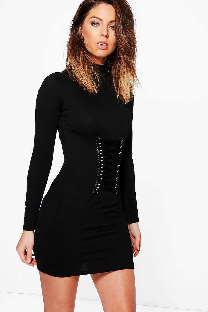 Kya Corset Detail High Neck Bodycon Dress