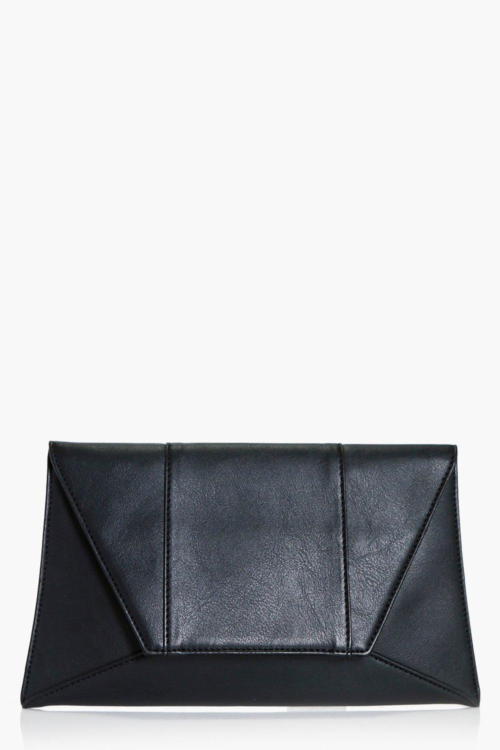 Panelled Envelope Clutch - black - Faith Panelled