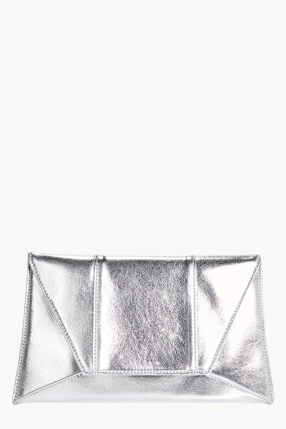 Panelled Envelope Clutch - silver - Faith Panelled