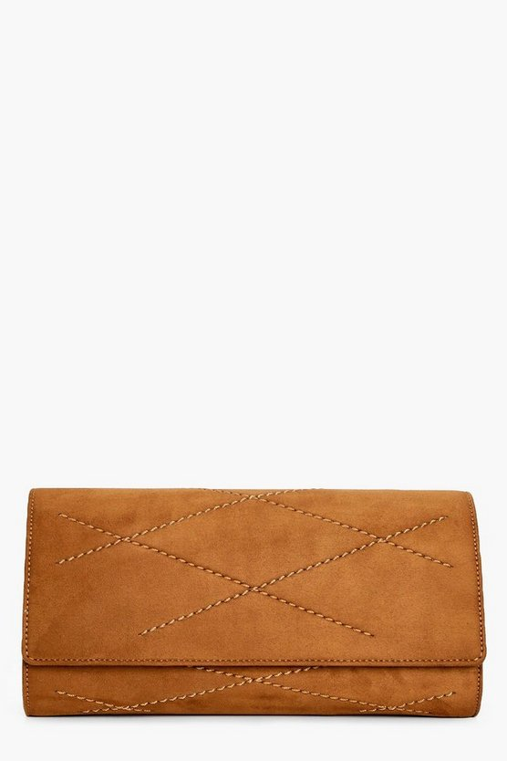 Matilda Stitched Suedette Clutch Bag