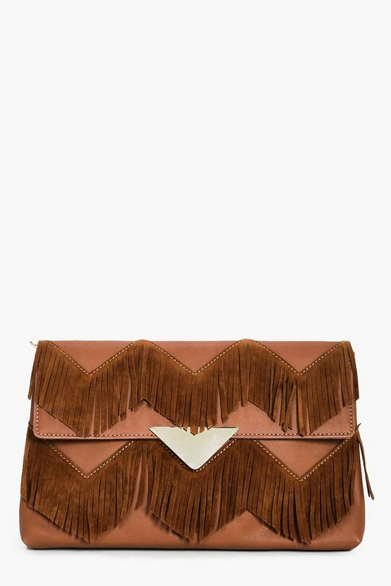 Sofia Suedette Fringed Clutch Bag