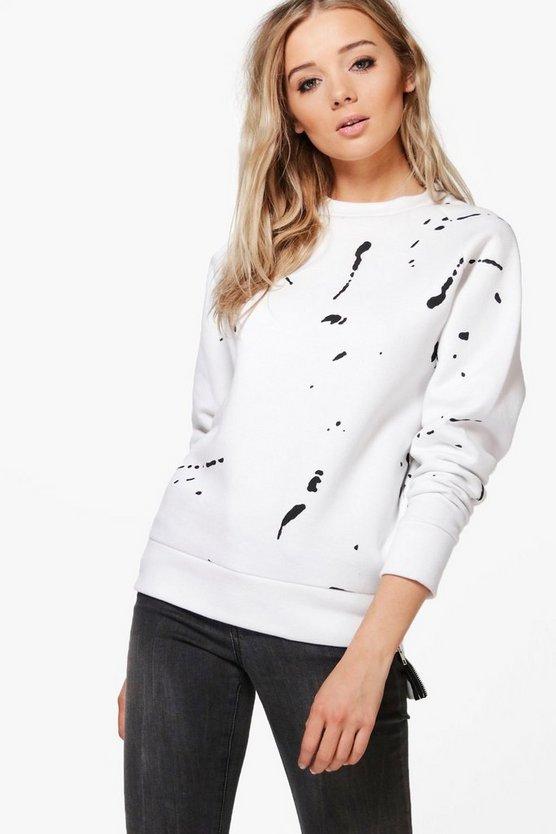 Emma Splatter Print Zip Detail Crew Neck Sweat