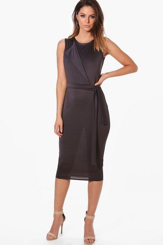Maria Pleat Detail Belted Dress