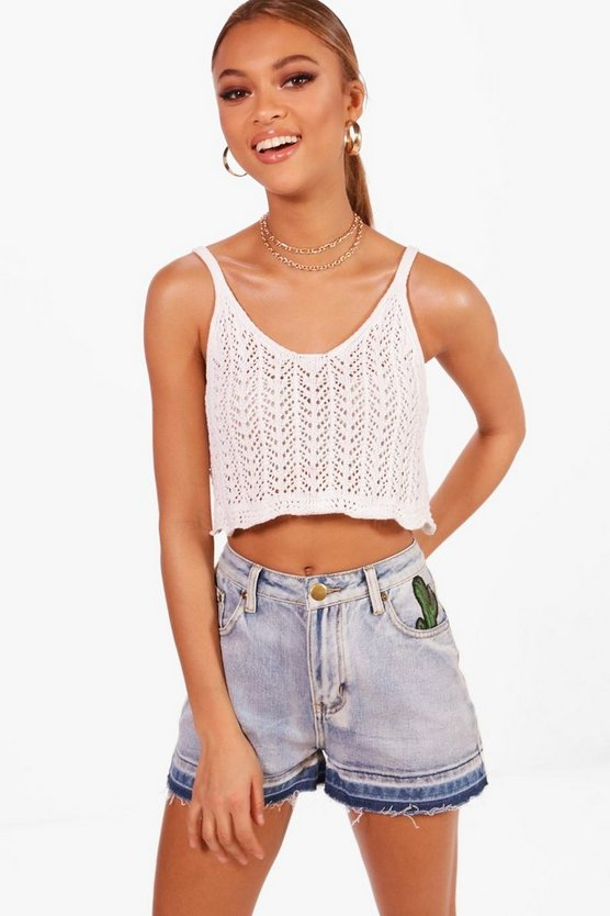 Cactus Embroidered Denim Mom Shorts