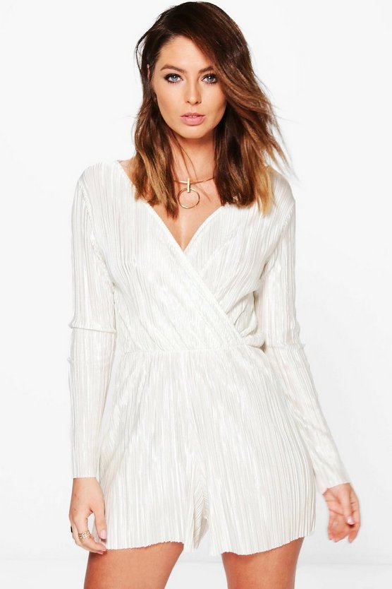 Mia Crinkle Wrap Front Playsuit