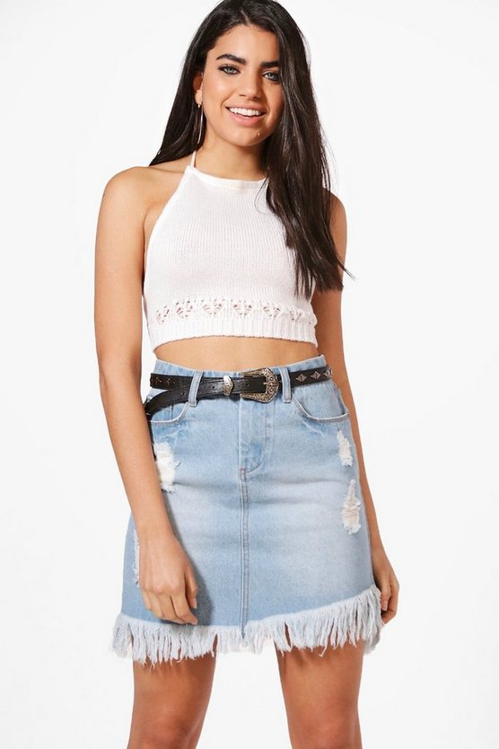Helen Fray Hem Distressed Denim Skirt