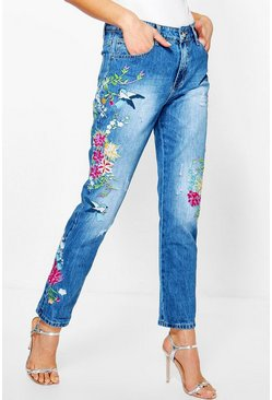Molly Mid Rise All Over Embroidered Boyfriend Jeans