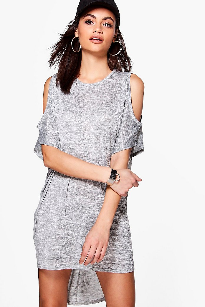 Rachel Cross Back Cold Shoulder Knitted Dress