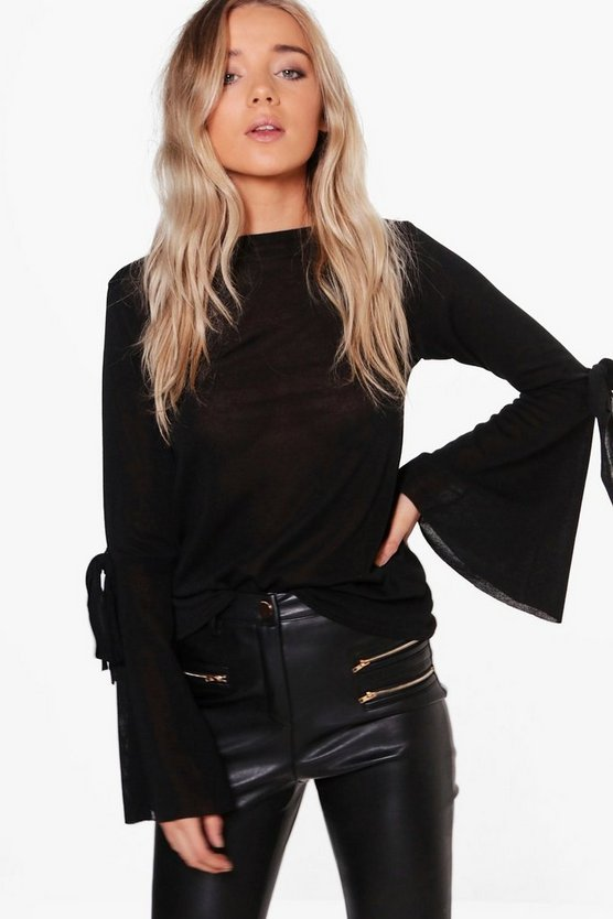 Olivia Tie Cuff Wide Sleeve Jumper