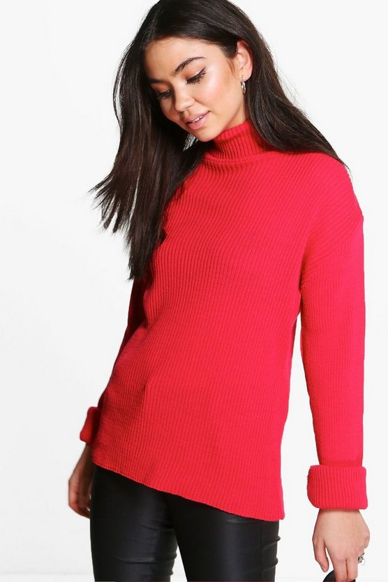 Bethany Roll Sleeve Rib Knit Jumper