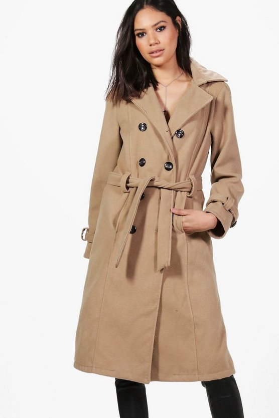 Elizabeth Double Breasted Belted Wool Coat